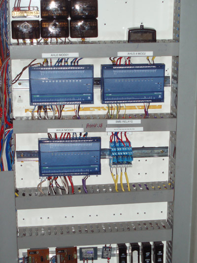 Modified switchboard with old equipment removed and new equipment installed into the existing switchboard