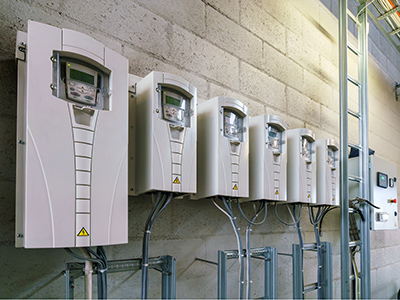 Varible Speed Drives which serve HVAC Pumps and Fans installed on Plant room wall Sydney