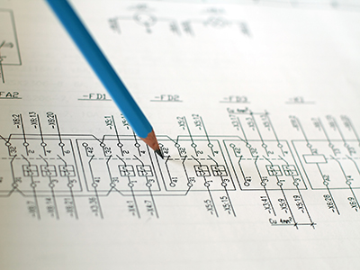 electrical schematic drawing with pencil