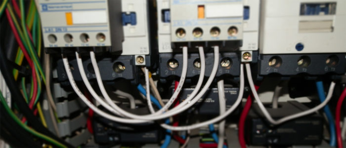 close up of contactors and wiring inside a HVAC Mechanical Services Motor Control Switchboard