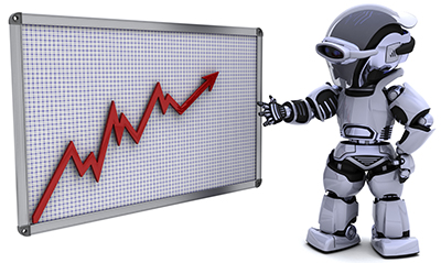 Robot man with a graphic chart with red incline trend