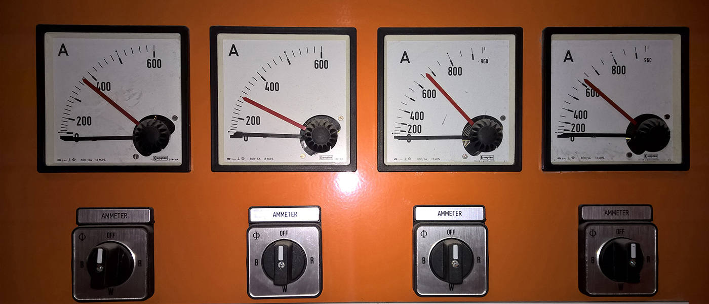 four electrical amp meters on main swithboard