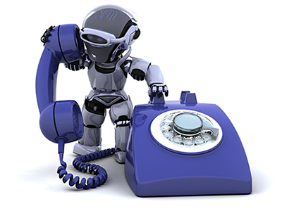 robot man with a telephone communicating essential services