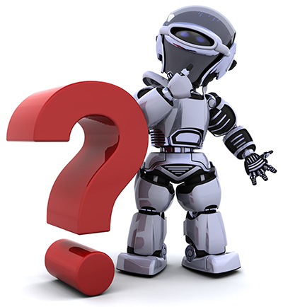 Robot man with a question mark