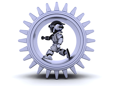 robot Man running inside a mechanical gear