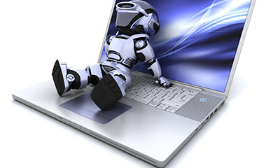 Building management robot man sitting on laptop shoing building services technology