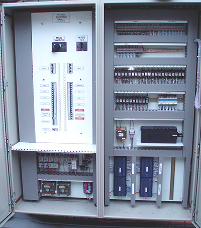 Mechanical Services Switchboard which has been refurbished and upgraded with BMS controllers and UPS