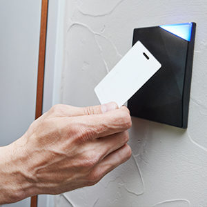 Access Control Swipe card in use