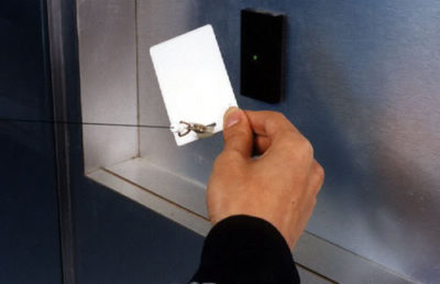 Access Control Swipe card in use by executive