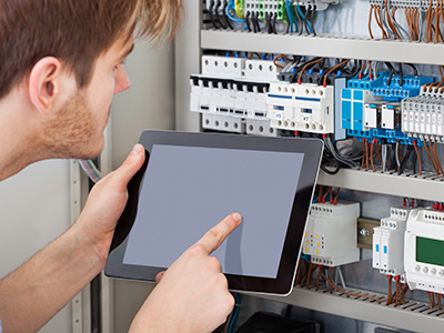 Building Management system integration of building services into mechanical switchboard