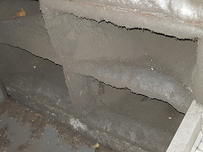 corrective maintenance | air handling unit filter very dirty causing energy consumption and hvac system inefficiency