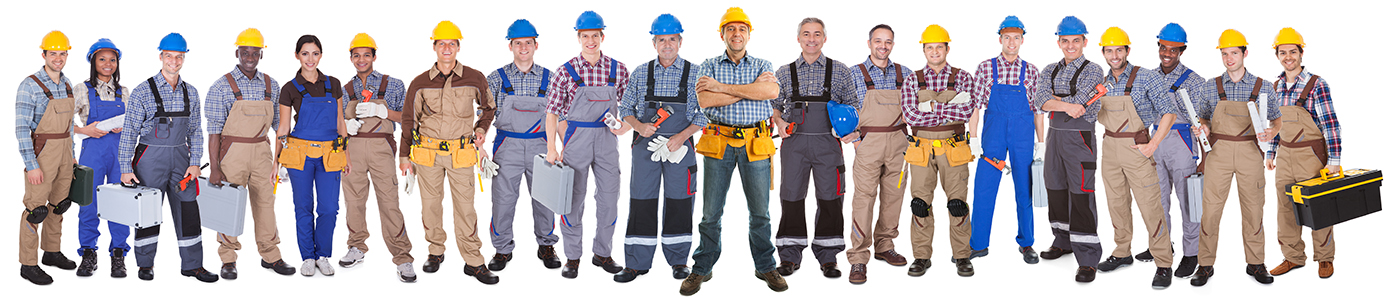 Trades people and technicians in PPE all lined up in a row for Forte Asset Services