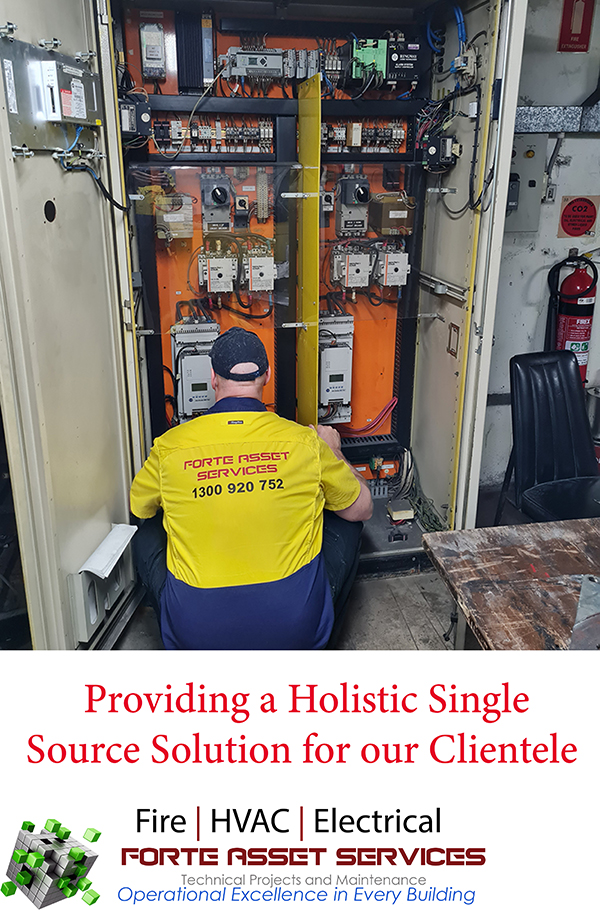 Call to action fault finding in a mechanical services control panel in the Sydney CBD australia.